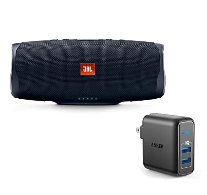 JBL Charge 4 Portable Waterproof Wireless Bluetooth Speaker Bundle with  Anker 2-Port Wall Charger - Black