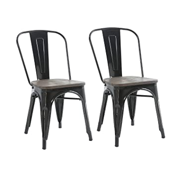Incroyable Buschman Set Of Two Black Wooden Seat Tolix Style Metal Indoor/Outdoor  Stackable Chairs