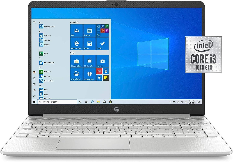 "2021 Newest HP 15.6"" HD Screen Laptop, 10th Generation Intel Core i3-1005G1 Dual-Core Processor, 8 GB DDR4 RAM, 256 GB PCIe NVMe M.2 SSD, Intel UHD Graphics, Wi-Fi, Webcam, Windows 10 Home in S Mode"
