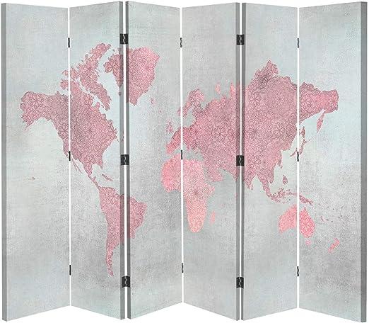 carowall CAROWALL.COM Biombo Opaco Mapa del Mundo 6 Paneles Bilateral Rosa 216x175 cm: Amazon.es: Hogar