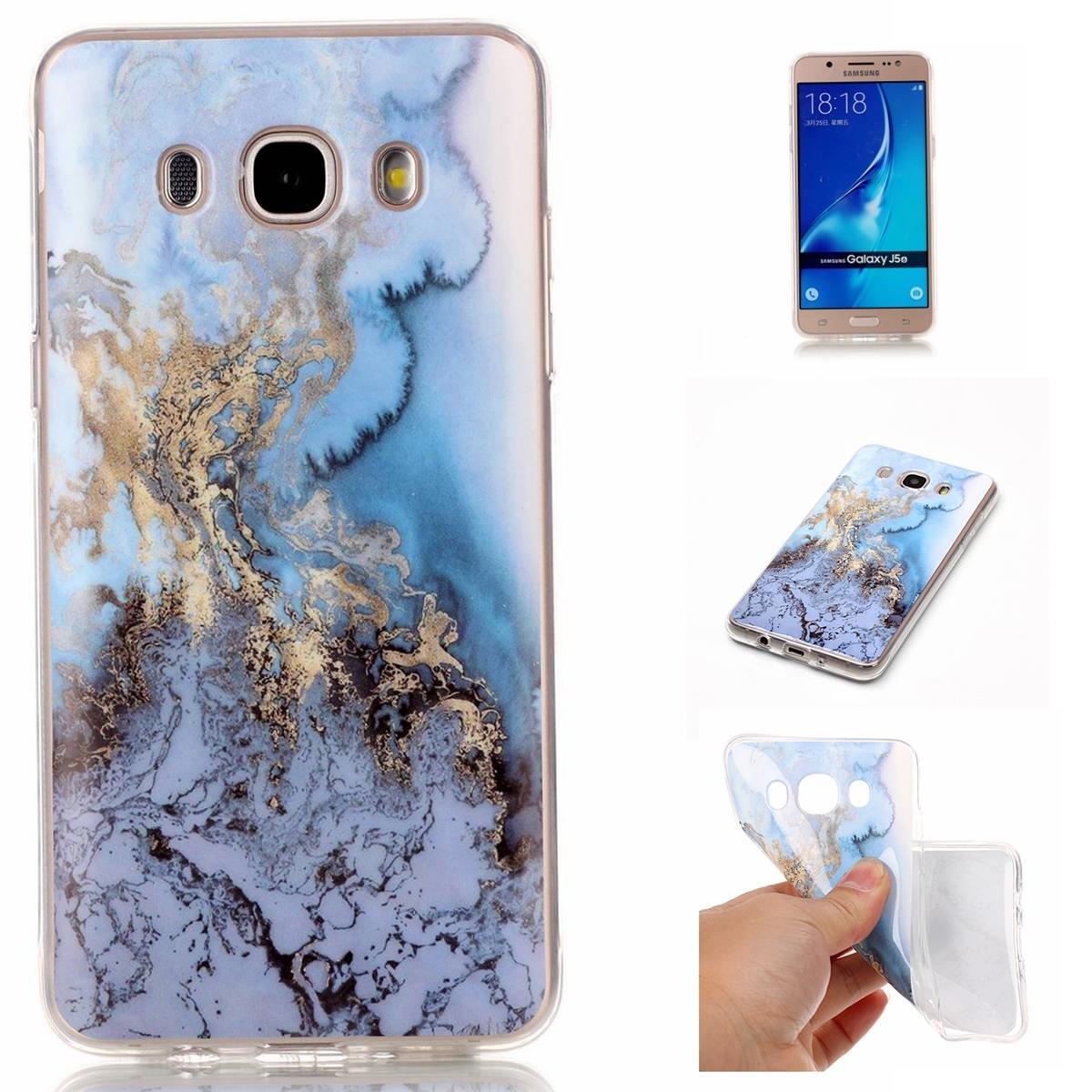 OnlyCase Funda para Samsung Galaxy J5 2016,Premium Elegante patr/ón de m/ármol TPU Suave Silic/ón Gel de Alta Resistencia y Flexibilidad Protectora Suave Caso Glaciar Azul