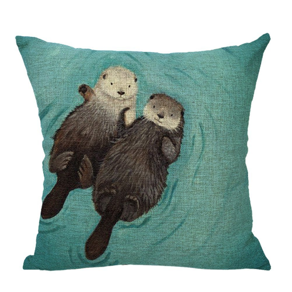 Derhamstore Two lovely sea otter Pattern Unique Fashion printing Plush cloth 18 X 18 inch Pillowcase Griffith.MJ