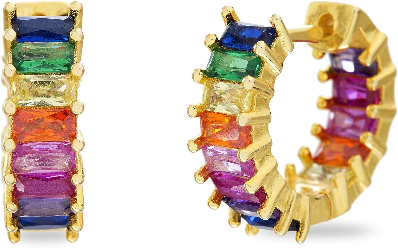 Devin Rose Yellow Gold Plated Sterling Silver Rainbow Baguette Cubic Zirconia Inside Outside Huggie Hoop Earrings for Women