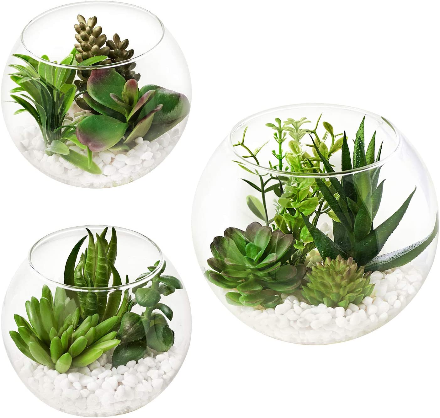 MOTINI Artificial Succulent Plants in Clear Glass Pot with Pebble, Set of 3 Potted Fake Succulent Realistic Tabletop Greenery Plants for Home and Office Decoration