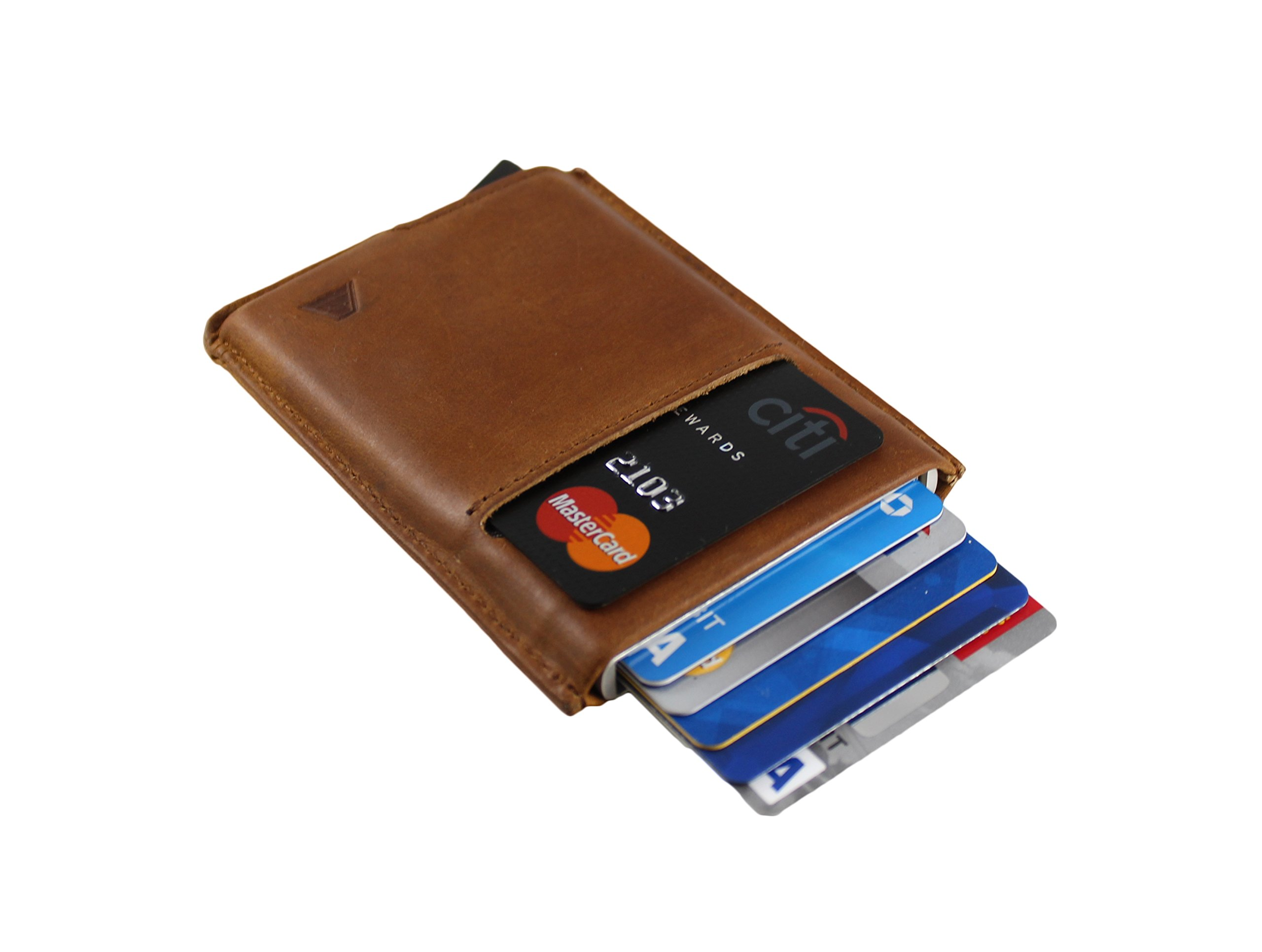 Andar Slim RFID Minimalist Card Case Full Grain Leather Wrapped - The Pilot (Saddle Brown) by Andar (Image #5)