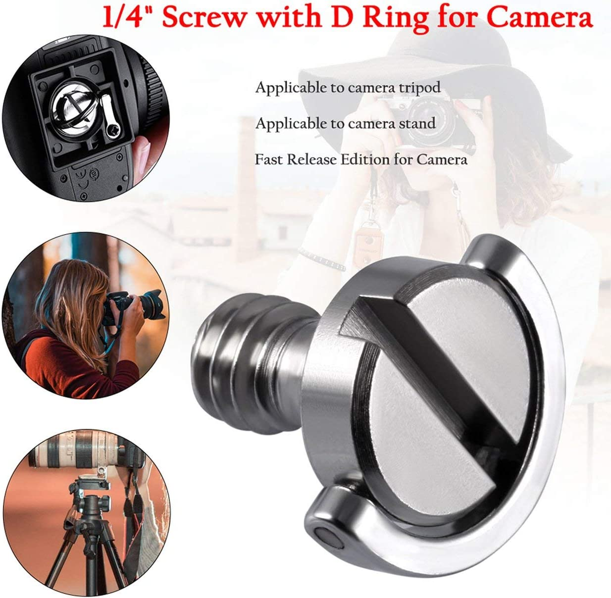 Detectorcatty 1//4 Screw with D Ring for Camera Tripod//Monopod//Quick Release Plate