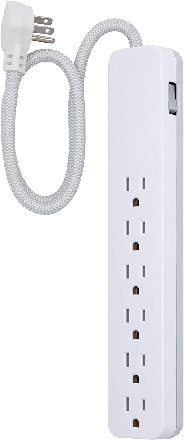 GE UltraPro 6 Outlet Surge Protector, 2 Ft Designer Braided Extension Cord, Flat Plug, Wall Mount, White, 45264