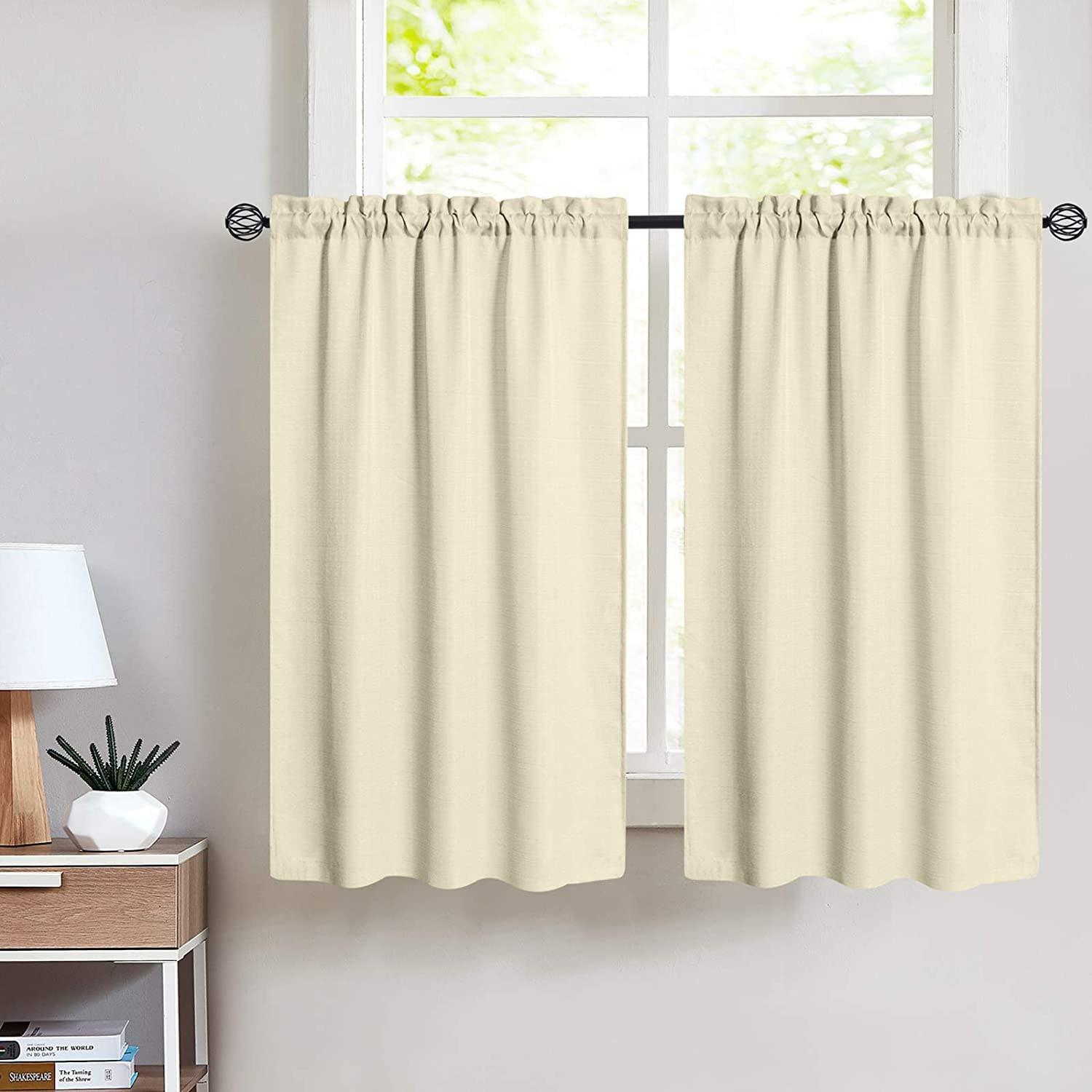 Tier Curtains 36 inch Rod Pocket for Kitchen Casual Weave Textured Cafe Curtain Semi Sheer Short Curtain for Bathroom Half Window, 2 Panels, W68xL36|Set,Beige