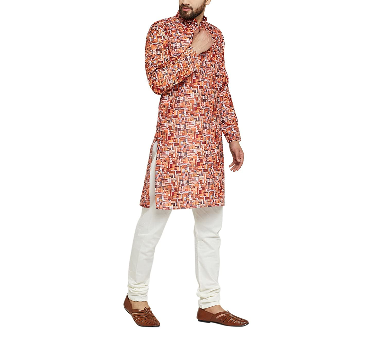 Indian-Traditional-Kurta-Pajama-Set-Shirt-Printed-Men-Kurta-Ethnic-Wear-XS-5XL thumbnail 5