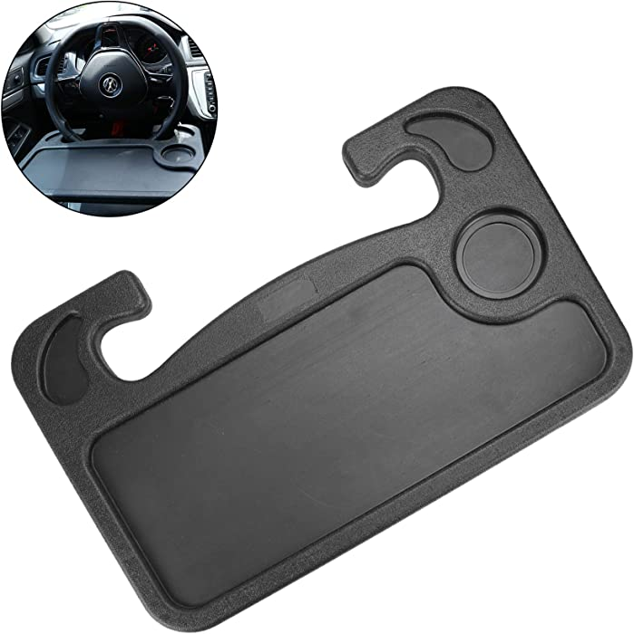 JUSTTOP Car Steering Wheel Desk, Multifunctional Portable Car Laptop Computer Rack and Food Steering Wheel, Fits for Most Vehicles(Black)