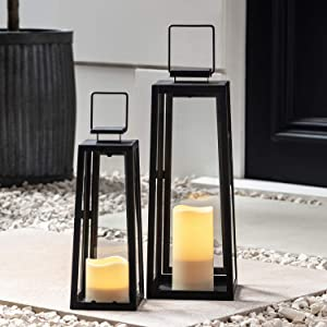 Lights4fun, Inc. Set of Two Black Metal Battery Operated LED Flameless Candle Lanterns for Indoor Outdoor Use