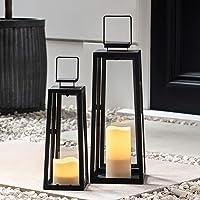 Lights4fun - Juego de 2 Farolillos de Metal Negro con Velas LED para Interiores y Exteriores