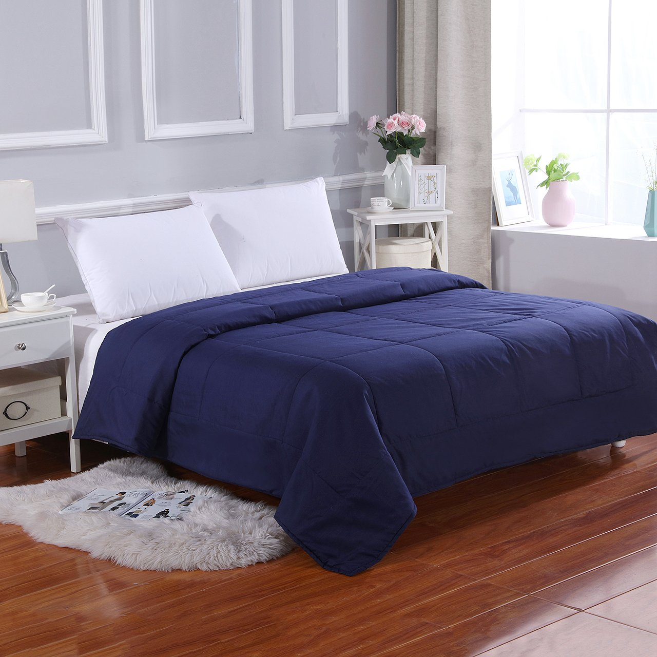 All Season Super Soft Microfiber Comforter Full/Queen Navy Blue by MELODY HOUSE