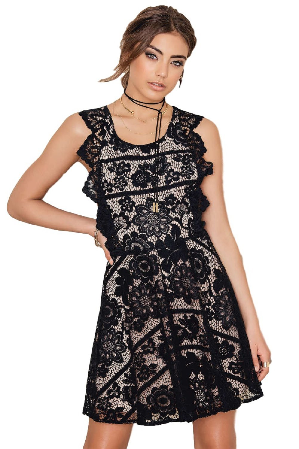 For Love and Lemons Gianna Backless Apron Mini Lace Dress,
