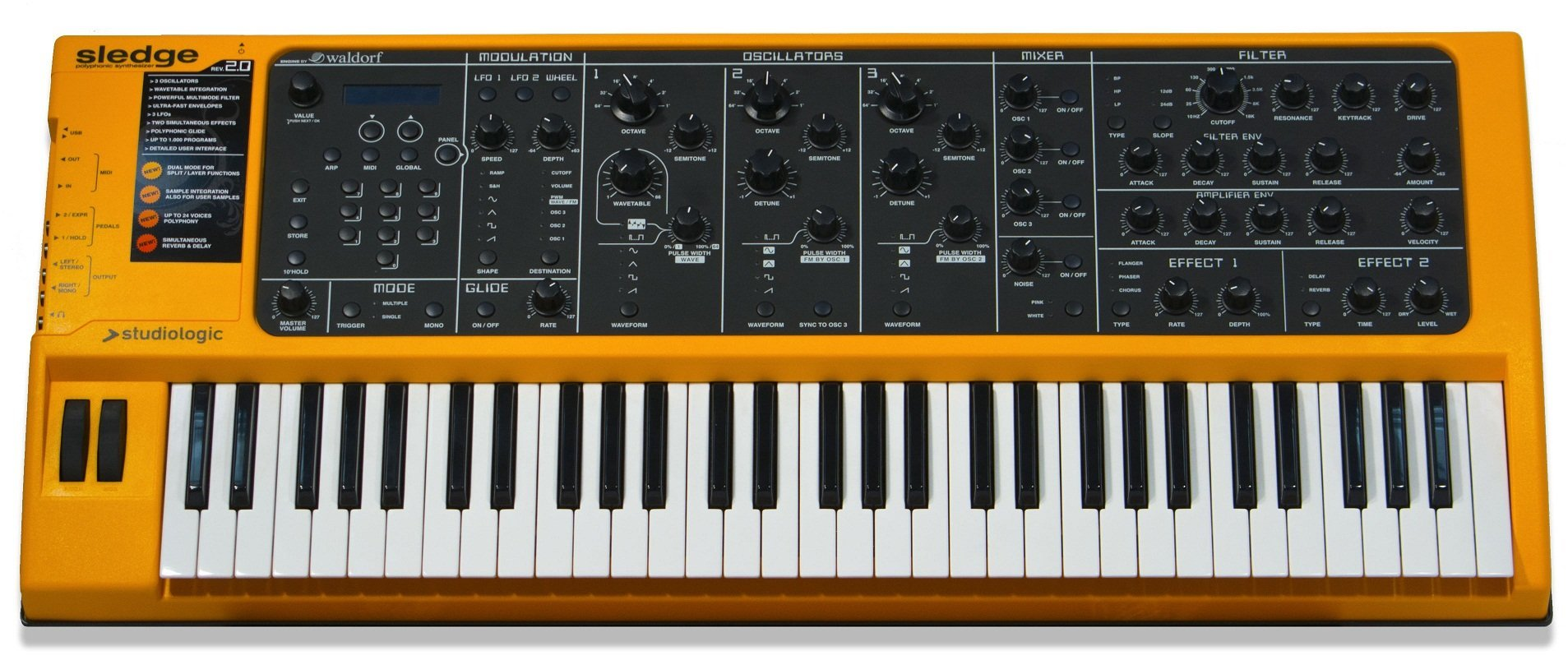 Studiologic Sledge 2.0 61-Key Synthesizer with Aftertouch by Studiologic