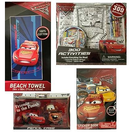 Cars 3 niños Pascua Cesta de Regalo Toalla de Playa, Actividad Pad, Ceras y