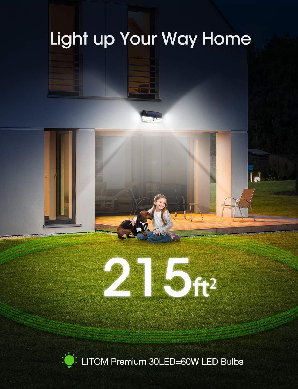 Yard Garage LITOM 30 LED Solar Lights Outdoor 2 Pack Deck Easy-to-Install Security Lights for Front Door 270/°Wide Angle Enhanced IP67 Waterproof Wireless Solar Motion Sensor Lights White Light