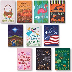 10-Pack Garden Flags - Decorative Seasonal Festive Holiday Flag Banners, Outdoor Lawn Decorations, 10 Assorted Festive Illustrations for Thanksgiving, Christmas, New Years and More, 18.5 x 12.3 Inches
