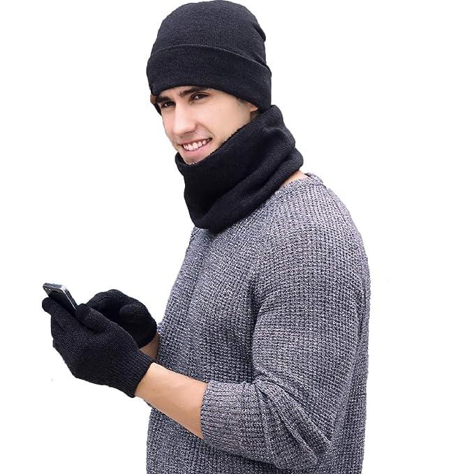 tuopuda Gorro Bufanda Guantes Set de Invierno para Hombre y Mujer Gorro de  punto Bufandas Caliente Guantes de Pantalla Táctil 7352c535a3b