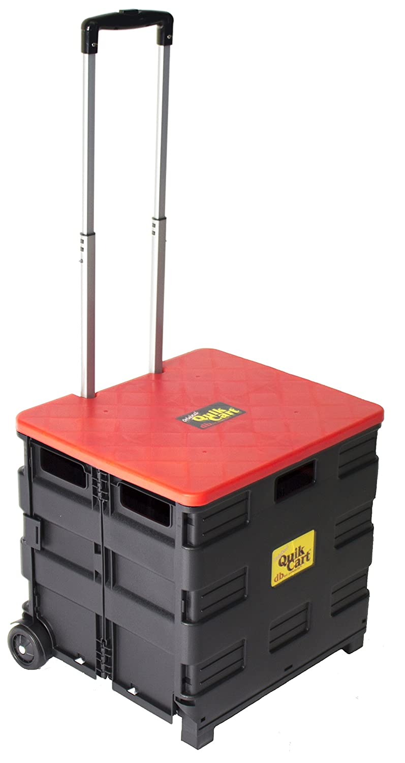 Quik Cart Two-Wheeled Collapsible Handcart with Red Lid Rolling Utility Cart with seat heavy duty lightweight