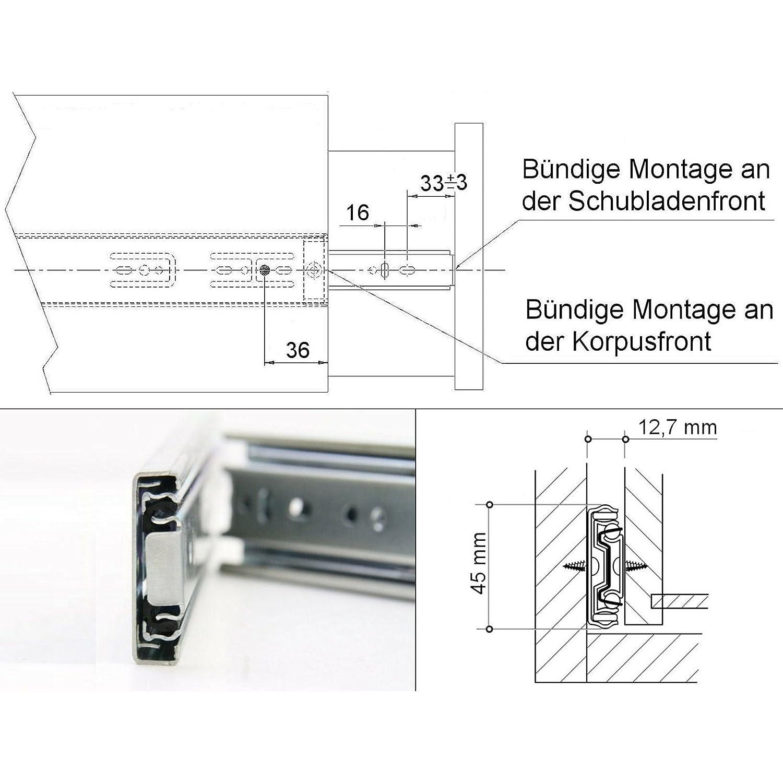 cerrado Rodamiento de Bolas Capacidad de carga 45 kg 2 piezas SO-TECH/® Gu/ía para Caj/ón de Extracci/ón total Carril de Caj/ón Negro 650 mm 1 par