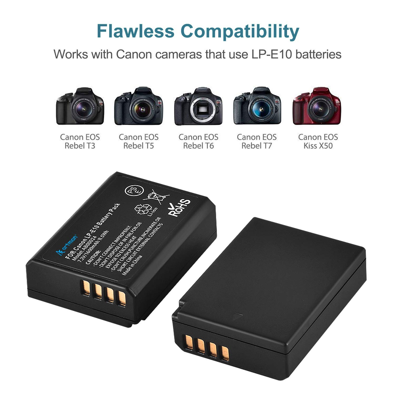 Artman LP-E10 Camera Battery Charger Set for Canon EOS Rebel T3, T5, T6, T7, Kiss X50, Kiss X70, EOS 1100D, EOS 1200D, EOS 1300D (2-Pack, 1600mAh, 3 ...