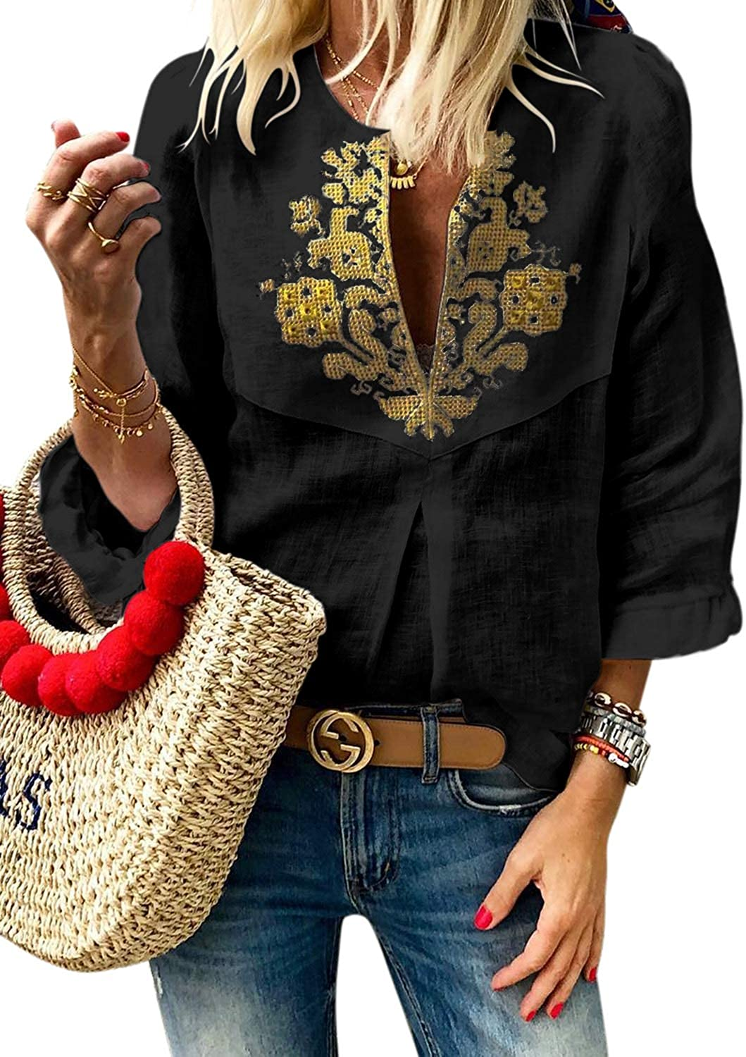 LOSRLY Women Floral Print T-Shirt High Neck Casual Blouse Sleeveless Tank Tops