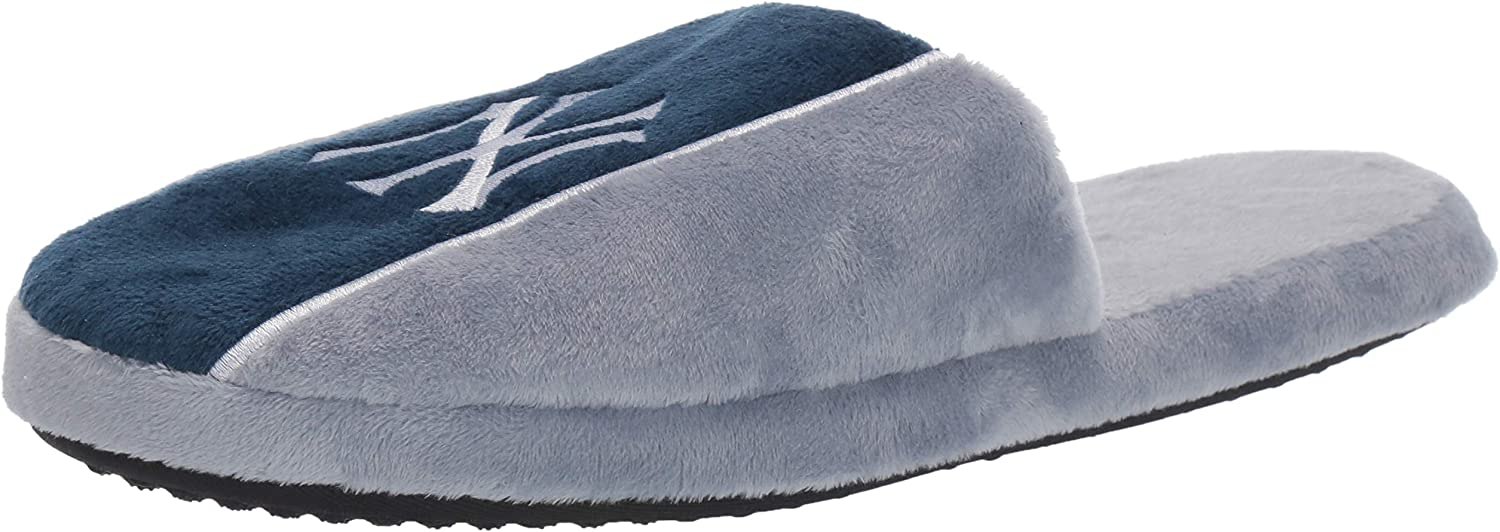 FOCO MLB Mens Big Logo Stripe Slipper