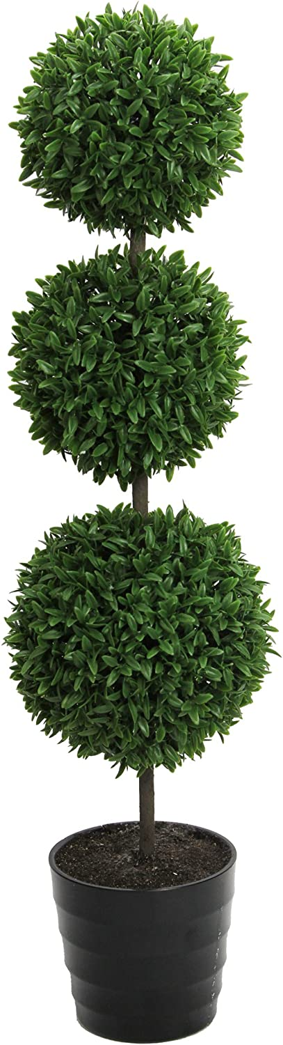 """Admired By Nature 24"""" Tall Artificial Tabletop English Boxwood Triple Ball Shaped Topiary Plant in Plastic Pot, Green, Single Pack"""