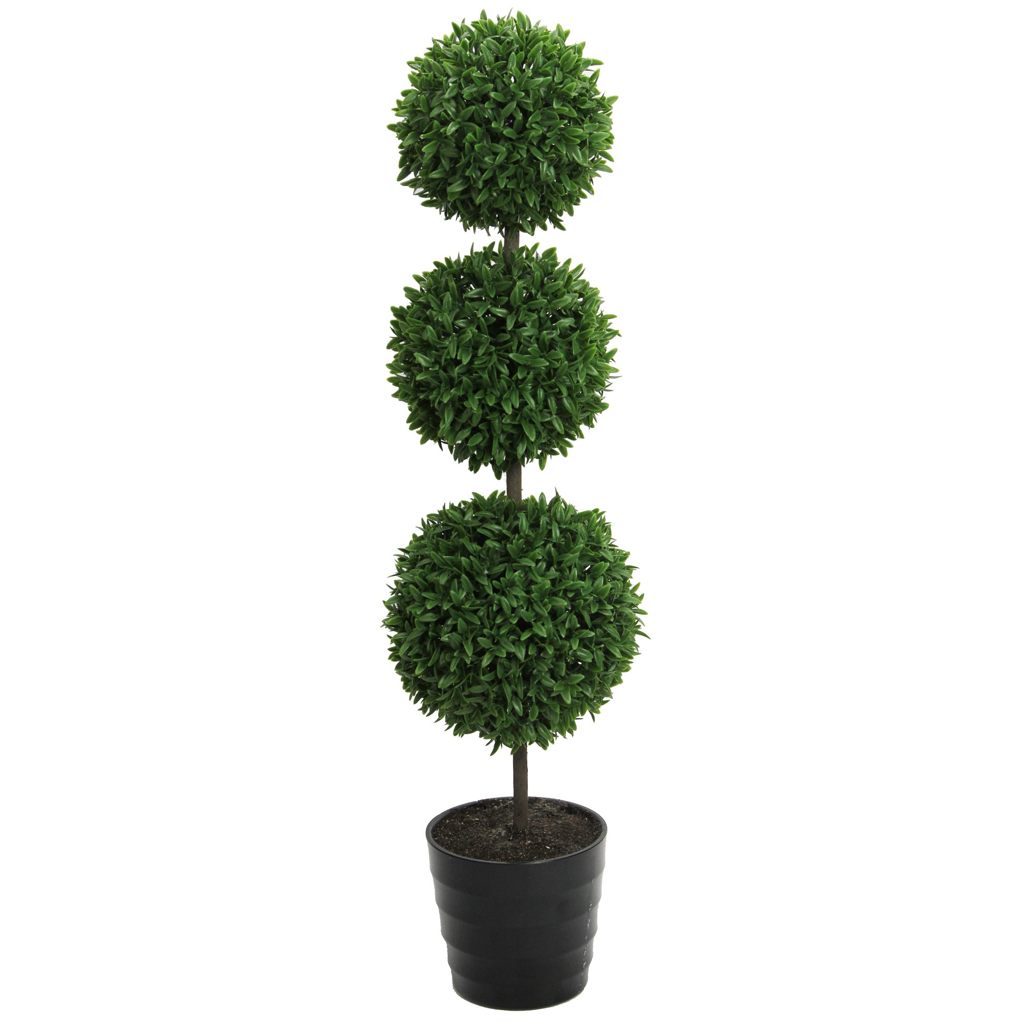 Admired By Nature 24'' Tall Artificial Tabletop English Boxwood Triple Ball Shaped Topiary Plant in Plastic Pot, Green