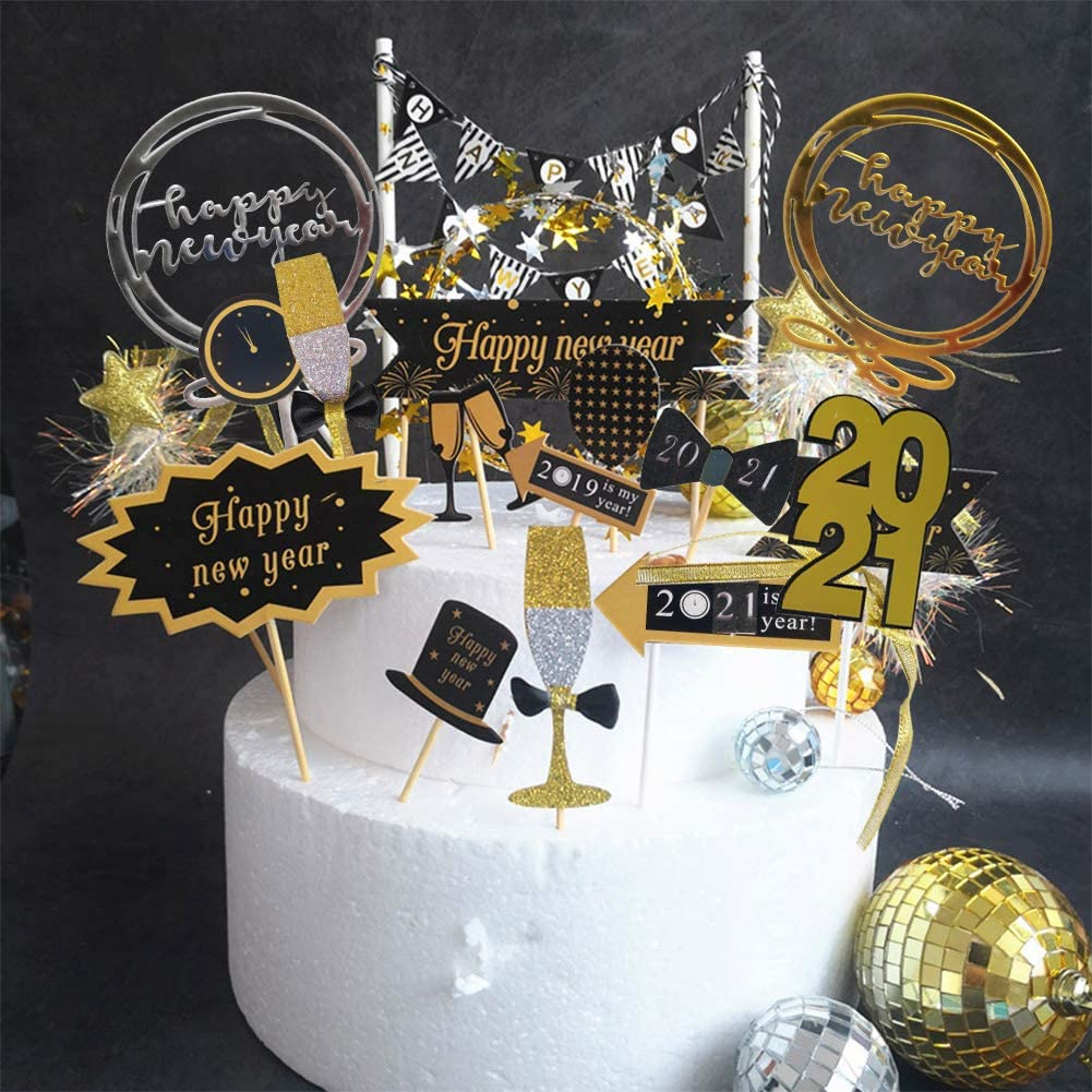 New Year Party Supplies Cake Toppers Decorations, 33PCS happy New Year 2021 Cupcake Picks Kits, Best Dessert Decor Present for Holiday, Gold Toppers for Kids Holiday Gifts Cupcake Party Supplies