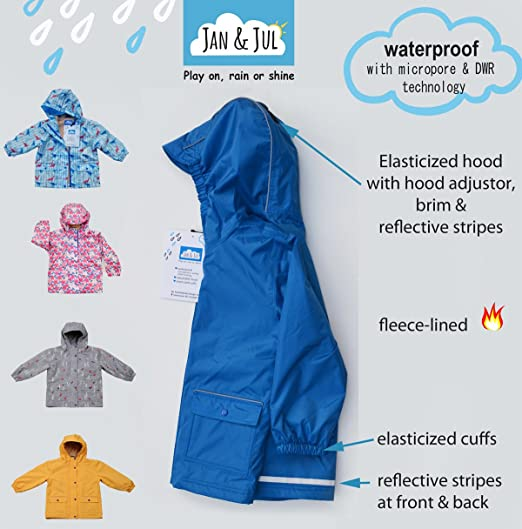 9b412a919 Amazon.com: JAN & JUL Water-Proof Fleece-Lined Rain-Coat Rain-Jacket with  Hood for Toddler and Kids, Boys or Girls: Clothing