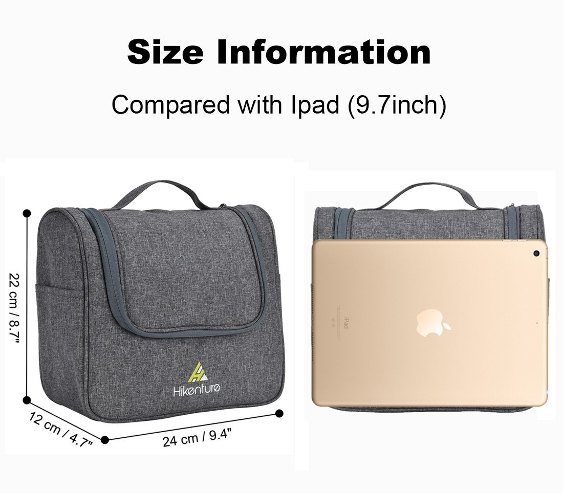 Travel Hanging Toiletry Bag by Hikenture | Cosmetics, Makeup and Toiletries Organizer | Compact Bathroom Storage | TSA Friendly | Home, Gym, Airplane, Hotel, Car Use(Grey) by Hikenture (Image #2)