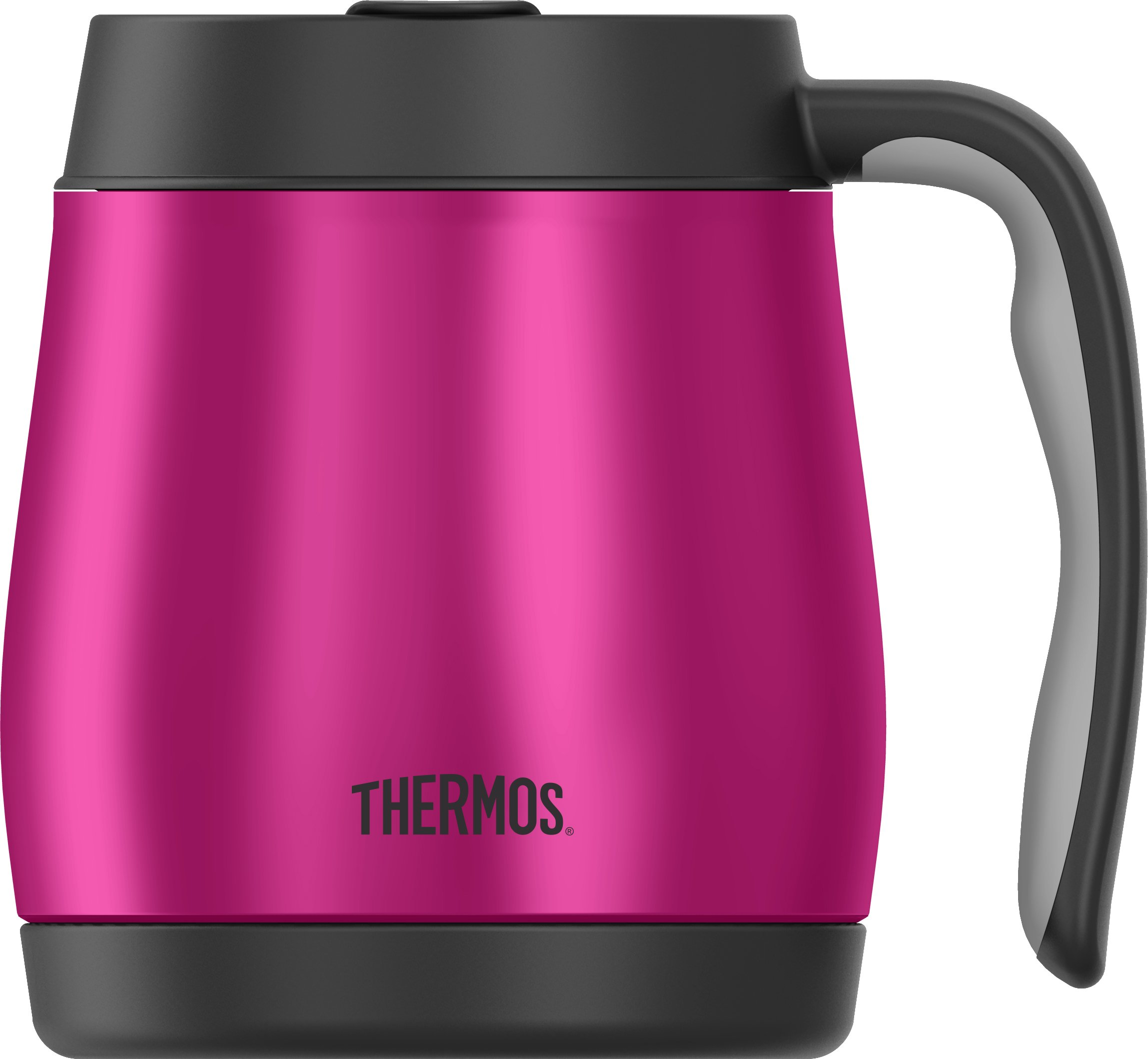 Thermos 16 Ounce Desk Mug, Stainless Steel/Magenta