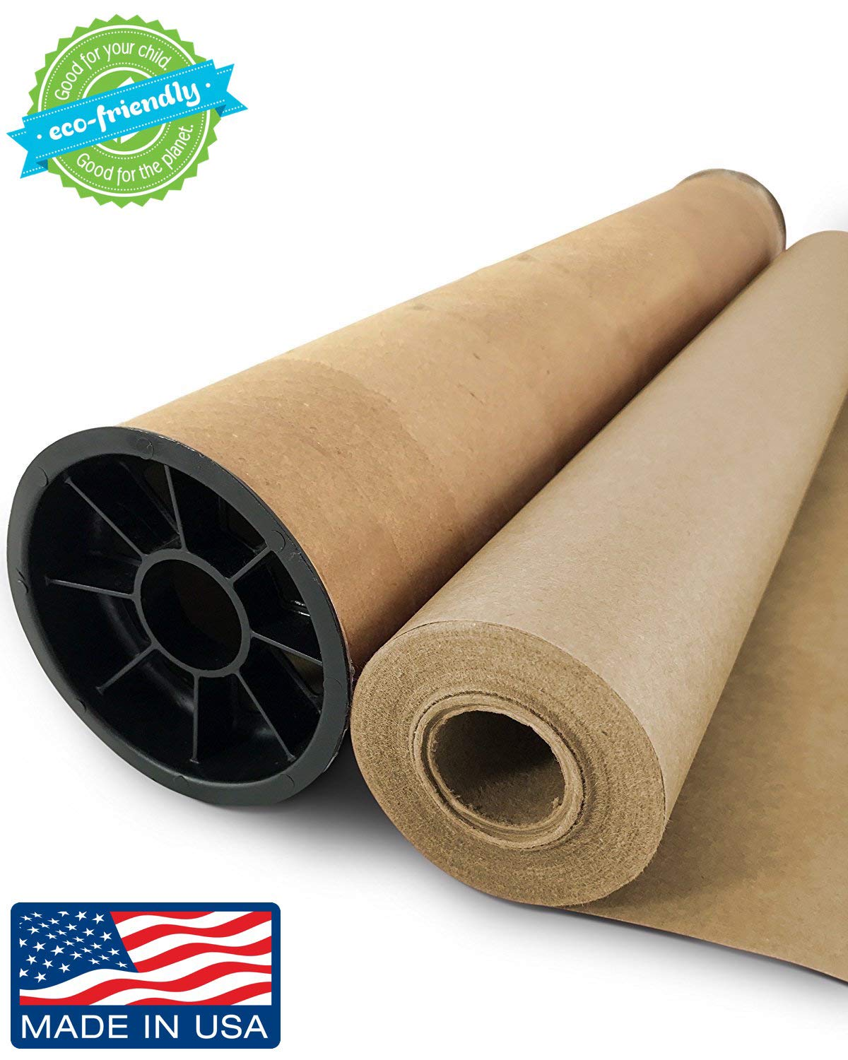 Brown Kraft Paper Jumbo Roll - 30'' x 1200'' (100ft) with Durable Carry Tube | Ideal for Gift Wrapping, Art, Craft, Postal, Packing, Shipping, Floor Covering, Dunnage, Parcel, Table Runner | Made in USA
