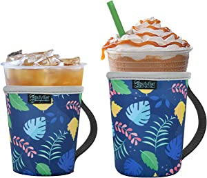 Beautyflier Pack of 2 Reusable Iced Coffee Cup Insulator Sleeve with Handle for Cold Beverages, 16-22oz Neoprene Holder for Starbucks Coffee, McDonalds, Dunkin Donuts (Pattern3)