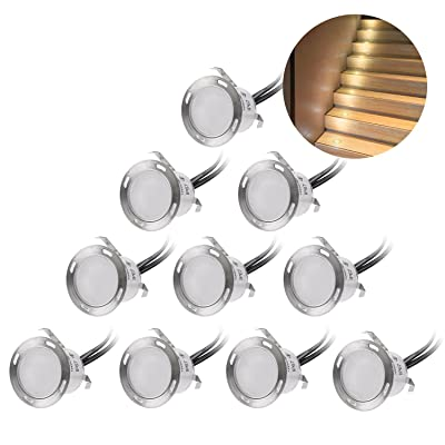 Recessed LED Deck Lighting Kits 12V Low Voltage Warm White φ22mm Waterproof IP 67, Led in Ground Lighting for Steps, Stair, Patio, Floor, Pool Deck, Kitchen, Outdoor Led Landscape Lighting(10Pcs/Pack