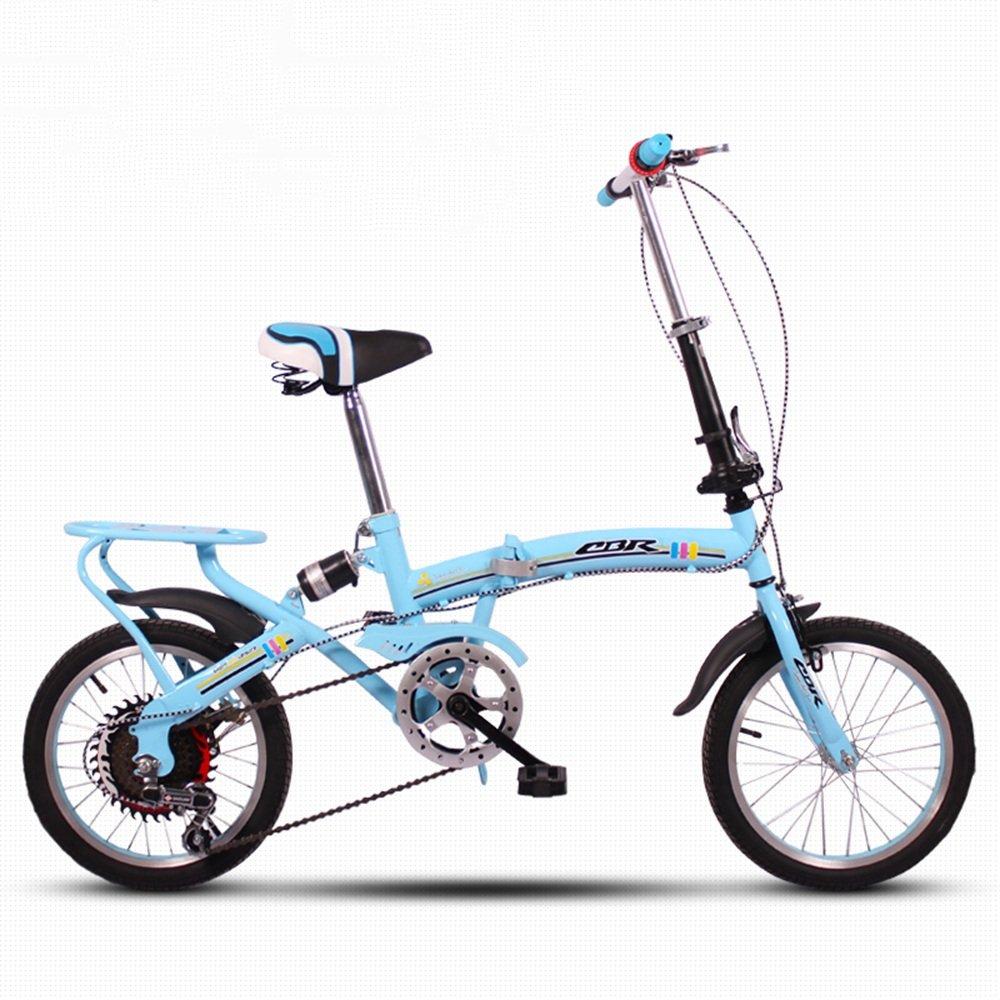 HAIZHEN マウンテンバイク 折りたたみ自転車自転車超軽量ミニ可変速度衝撃吸収16インチ大人の子供の自転車 新生児 B07DRX5TS8 青 青