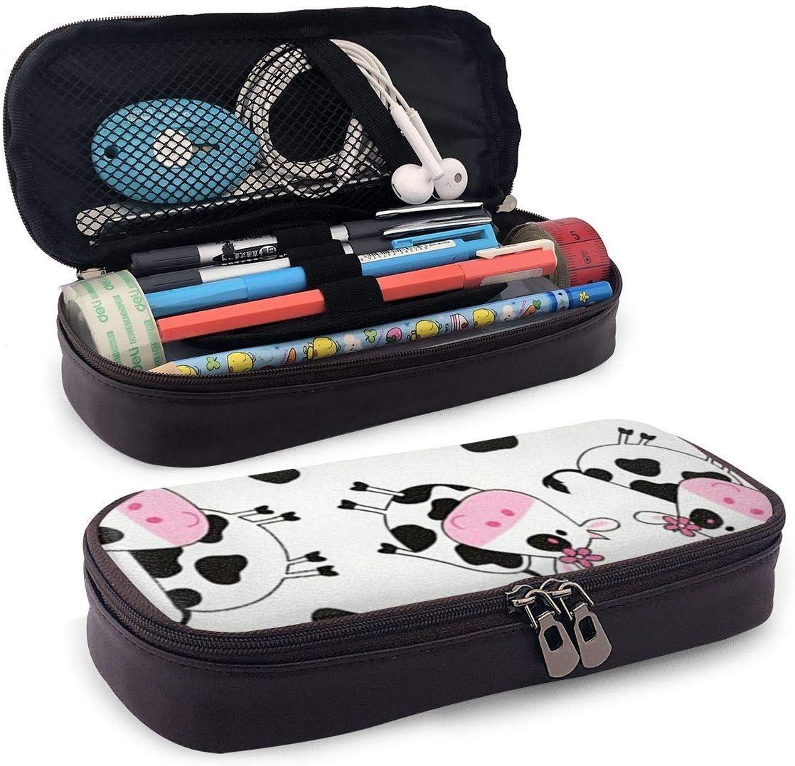 /Étui /à crayons en cuir de vaches mignonnes mignonnes papeterie durable pour Gilrs gar/çons et adultes