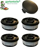 Bobine de rechange/bobine de fil double - kit comprenant 4 bobines et 1 capot - compatible avec ALDI Gardenline coupe-bordures électrique GLR & GLT - GLR 450 451 452 453 454 455 456 457 458 459 GLR 450/1 450/GLT 2 450/3 450/4 450/5 453 454 455 456 457 458