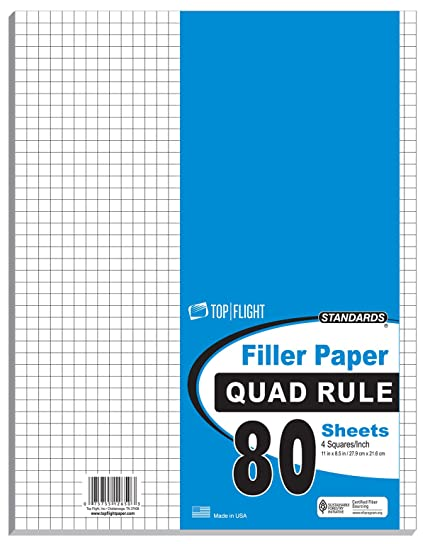 amazon com top flight filler paper quadrille rule 11 x 8 5