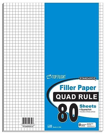 Amazon.com : Top Flight Filler Paper, Quadrille Rule, 11 x 8.5 ...