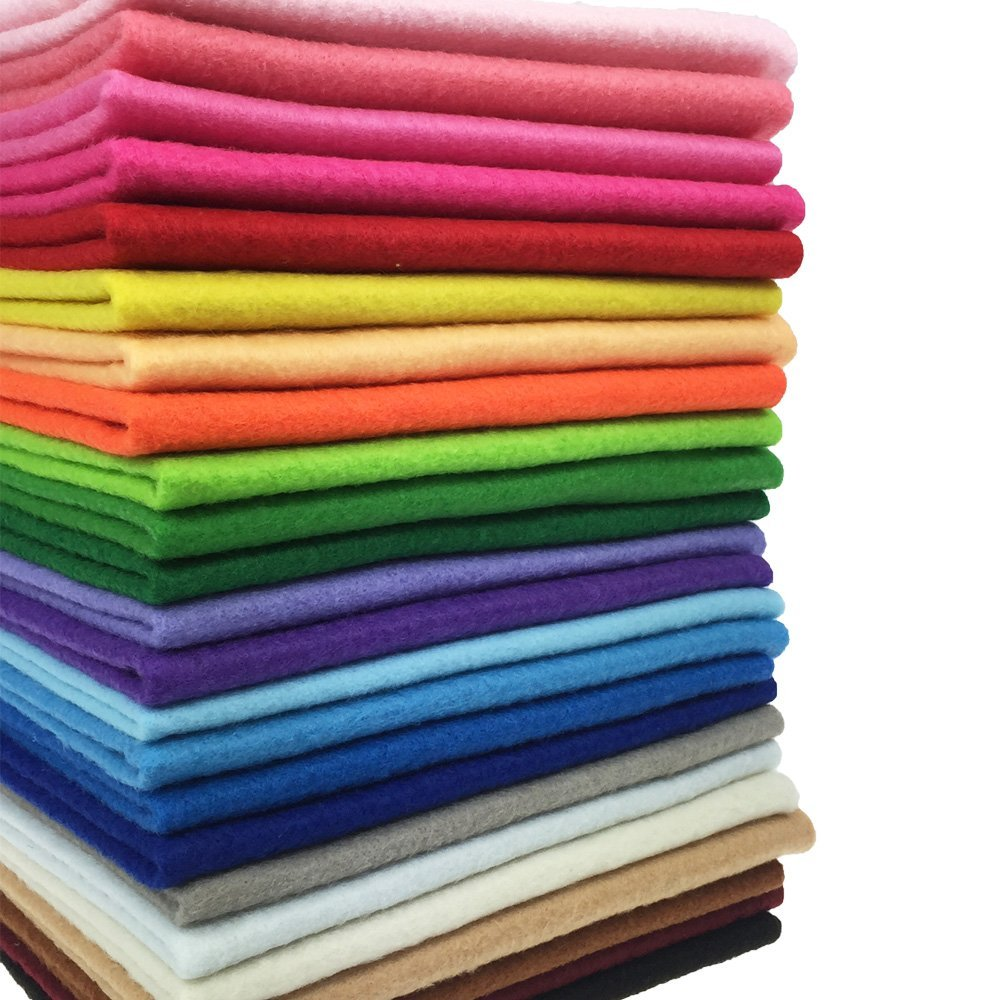 24pcs Thick 1 4mm Soft Felt Fabric Sheet Assorted Color Felt Pack DIY Craft  Sewing Squares Nonwoven Patchwork (3030cm)