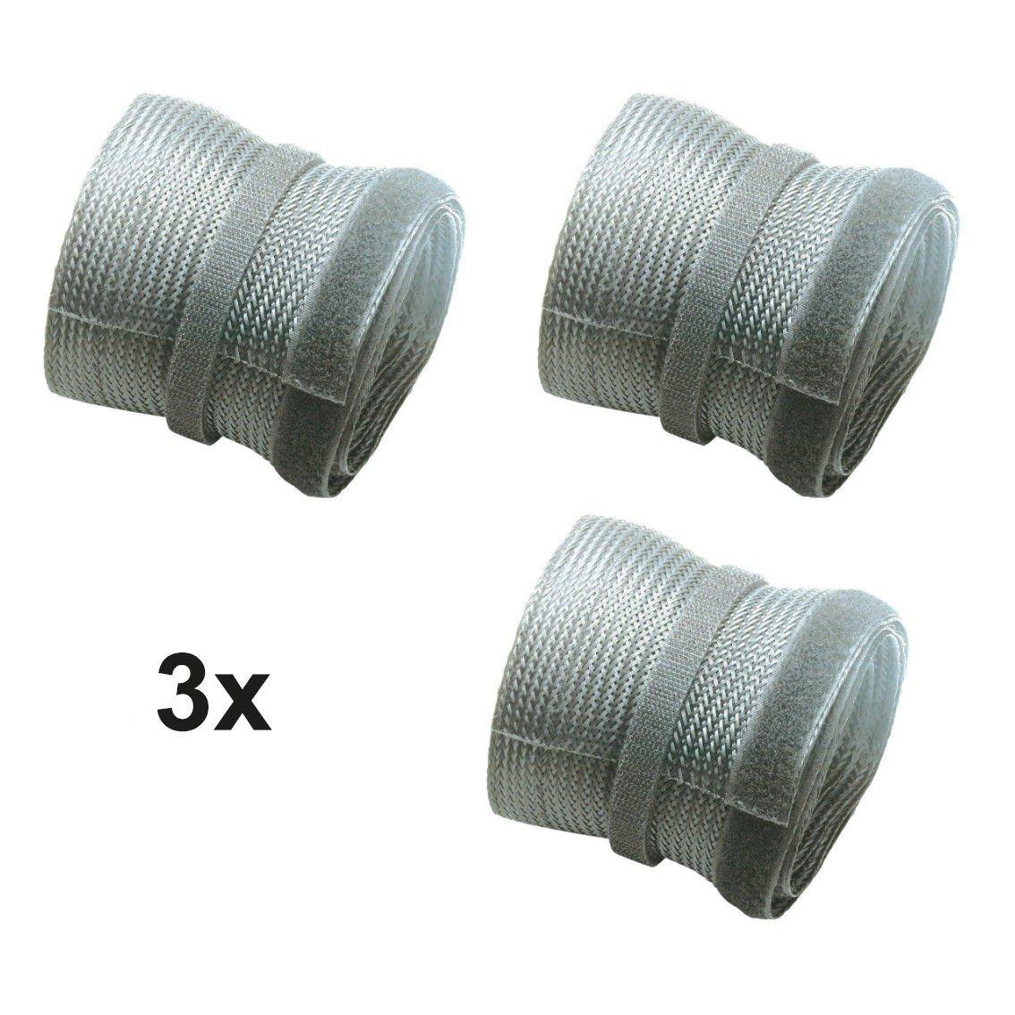 Flexibler Kabelschlauch Kabelkanal mit Klettverschluss Gewebeschlauch, Ø 85mm, 1,80m, weiß PerfectHD