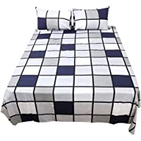 uxcell 100% Cotton Bedroom Luxury Soft Fitted Sheet Bed Sheet Pillowcase 4-Piece Bedding Set