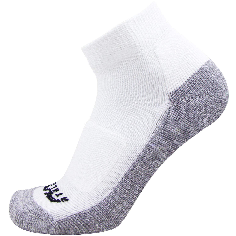 Pure Athlete Comfort Padded Walking Socks – Everyday Ultra-Comfortable Anti-Blister Walker Socks – Also use for Jogging, Running, Sports (Small/Medium, White/Grey - 1 Pair)
