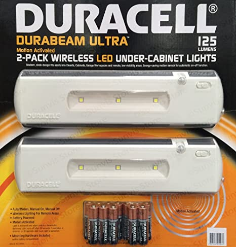 Incroyable DURACELL LED Wireless Motion Sensor Under Cabinet Light 2PK 125 Lumens