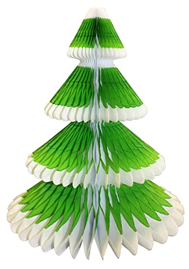 3 pack 12 inch honeycomb christmas tree decoration lime greenwhite - Lime Green Christmas Tree Decorations