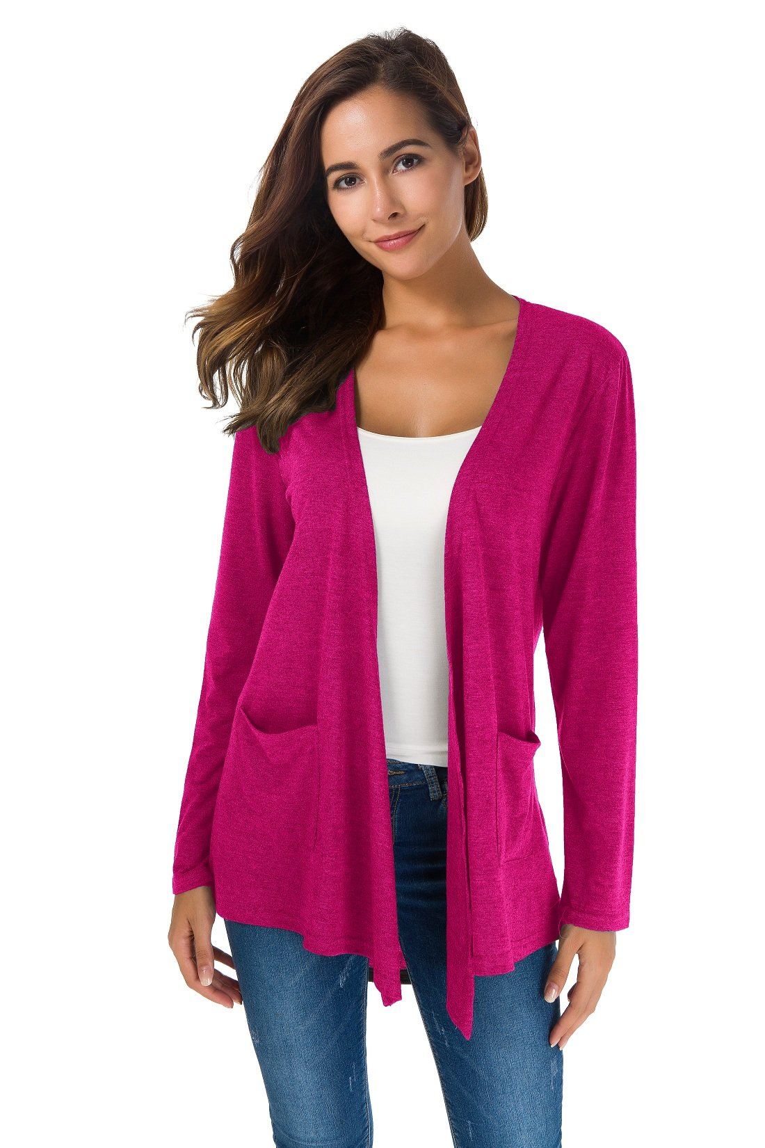 TownCat Women's Loose Casual Long Sleeved Open Front Breathable Cardigans with Pocket (Rosered1, L)