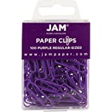 JAM PAPER Colorful Standard Paper Clips - Regular 1 Inch - Purple Paperclips - 100/Pack